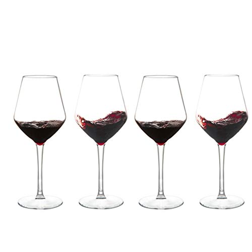 Cristal Premium - Cata de vinos Copas de vino tinto Conjunto de 4, copas de vino tinto grandes, gafas baratas, marcadores de vidrio, regalo para degustación de vinos, boda, aniversario, navidad, 425ml