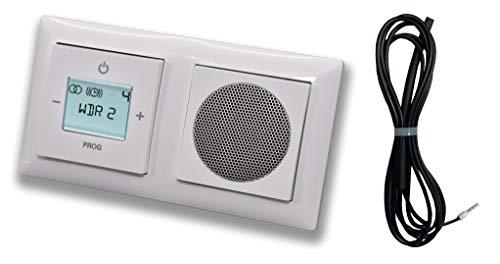 Busch Jäger Unterputz UP Digitalradio 8215 U (8215U) Komplett-Set balance SI Design alpinweiß/Lautsprecher + Radio + Abdeckungen + 2 fach Rahmen + 3 Meter EBROM Wurfantenne zur Empfangsverbesserung