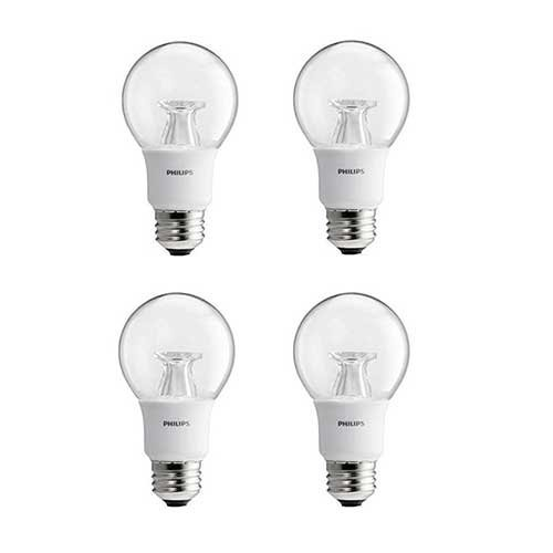 Philips LED Dimmable A19 Soft White Light Bulb with Warm Glow Effect: 800-Lumen, 2700-2200-Kelvin, 9.5-Watt (60-Watt Equivalent), E26 Base, Clear, 4-Pack (Old Generation)