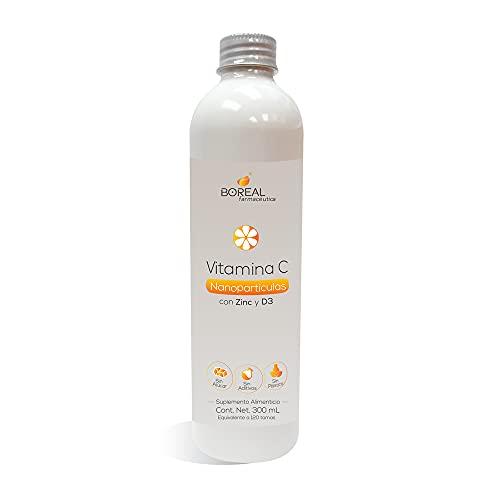 Vitamina C Nanopartículas con Zinc y D3, Botella con 300 mL, Sabor Naranja, Suplemento de liposomas soluble en agua, una botella alcanza para 120 tomas, 1 toma diaria sugerida.