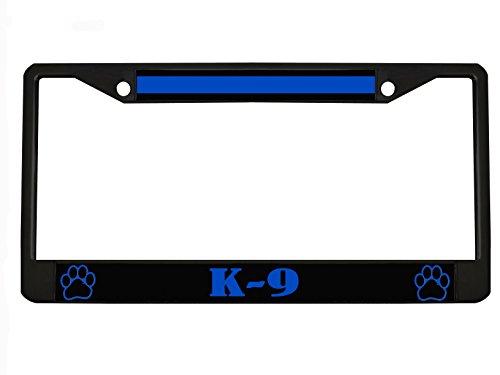 Thin Blue Line K-9 Unit Paw Prints - Police Heavy Metal License Plate Frame Tag Chrome/Black (Black/Black/Blue)