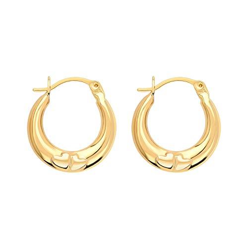 Gelin Oorbellen voor dames, 14 karaat – 585 echt goud, met hartje, geelgoud, buitendiameter 15 mm, gewicht 0,90 g, cadeau voor Valentijnsdag, verjaardag