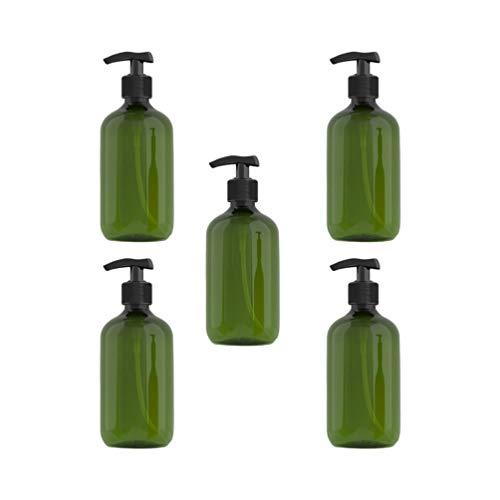 Solustre 5pcs Seifenspender Leere Flaschen Pumpflasche 300ml Nachfüllbar Handlotion Shampoo Schaum Gel Wasser Seifen Behälter Reisen Hause Hotel (Dunkelgrün)