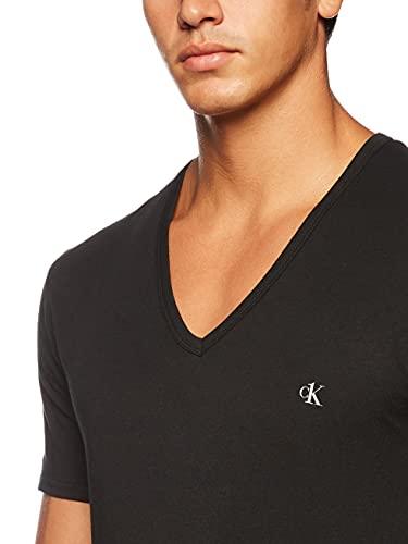 Calvin Klein S/s V Neck 2pk Top de Pijama, Negro (Black 001), M para Hombre