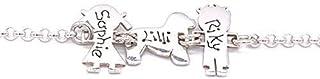 ibamboli - Bracciale famiglia personalizzato in argento 925 composto da femmina, cane e maschio. Traforo omaggio