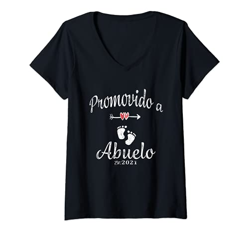 Mujer Promovido a Abuelo lindo 2021 Camiseta Cuello V