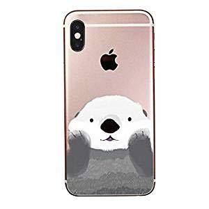 SURELOCK IDEAS Schutzhülle für iPhone, süßes Tier, Ozean, aus Gummi, flexibel, Silikon, transparent – süßer Kawaii-Tier-Otter iPhone XS Translucent, Multicolored