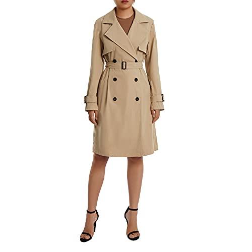 벨트 솔리드 컬러 재킷 롱 아웃어웨어를 착용한 여성 롱 슬리브 라펠 더블 브레스트 트렌치 코트