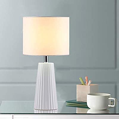 Cuaulans 18'' Modern Ceramic Table Lamp, White Table Lamps for Bedroom, Living Room, Dining Room, Beige Linen Shade