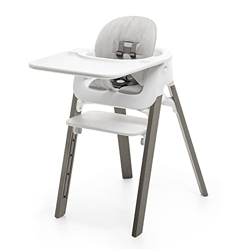 Stokke Steps High Chair Bundle Complete with Cushion (Hazy Grey/White/Grey Cushion)