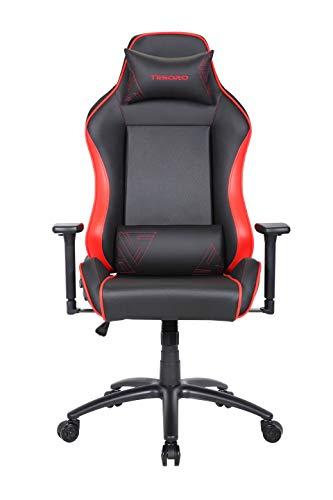 Tesoro Alphaeon S1 Rot/Red Gaming Stuhl F715 Gaming Chair Chefsessel Schreibtischstuhl mit PU Kunstleder und Lordosenstütze Lendenkissen Rot/Red