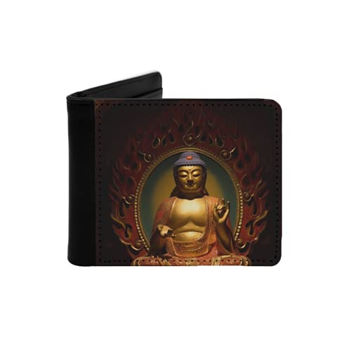 Mens Womens Slim Wallet,buddha statues in temple,With ID Window Money Clip RFID Blocking Bifold Credit Card Holder Front Pocket
