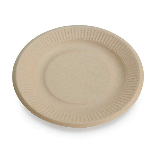 """100% Compostable Disposable Paper Plates Bulk [6"""" 50 Pack], Bamboo Plates, Eco Friendly, Biodegradable, Sturdy Small Dessert Party Plates, Heavy-Duty, Unbleached by Earth's Natural Alternative"""