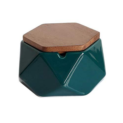Cenicero con Tapa AMITD para decoración Minimalista de cerámica Negra al Aire Libre Plana, 100 * 53 mm (2019 Nuevo),Dunkelgrün