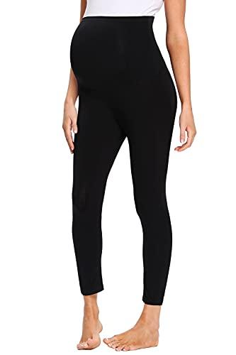 DYLISEA Leggings Premaman Cotone Pantaloni Premaman Lunghi Donna Coprenti Collant Leggins Nero maternità Pantaloni Casual Leggings per Gravidanza (S, s)