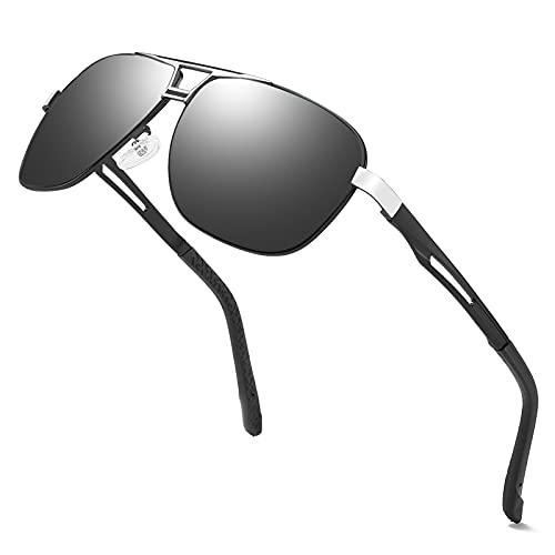 MUCO Polarisierte Sonnenbrille Herren, Retro Sonnenbrille Männlich, Pilot UV400 Fahren Sonnenbrille, Sport im Freien Golf Radfahren Angeln Wandern
