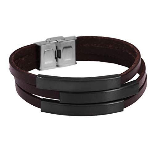 Bruine leren armband met 3 gratis gravures | roestvrij stalen armband zwart | cadeau man