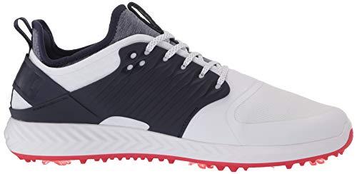 PUMA Men's Ignite Pwradapt Caged Golf Shoe, White Silver-Peacoat, 13 UK
