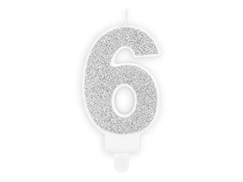 Candela numero 6 ARGENTO GLITTER - numerale h7cm argentata - Candelina per Torta e dolci - candela di compleanno in cera a forma di numero (6 Sei)