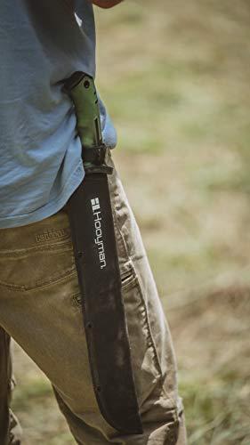 Hooyman Bush Machete with Heavy Duty Construction, Ergonomic Non-Slip Handle and Belt Sheath for Gardening, Land Management, Bushcraft, Hunting and Outdoor , Black/Green