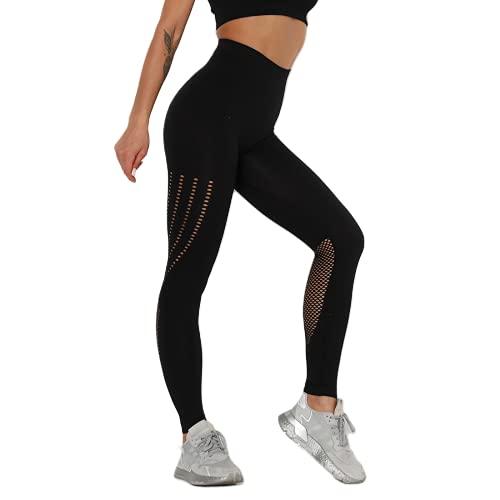 QTJY La Yoga de Levantamiento de Cadera de Cintura Alta sin Costura de Las Mujeres jadea, Polainas elásticas Que corren del Gimnasio, Pantalones para Correr al Aire Libre CS