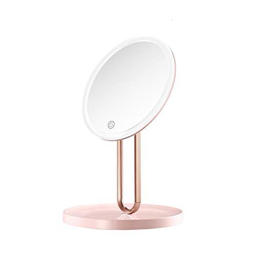 OMLTER Espejo Maquillaje con 7X Retirable Lupa, Hogar Escritorio Vanidad Espejo por Led Ligero, Portátil Espejo Maquillaje por Maquillaje Y Afeitado O Creatividad Regalo