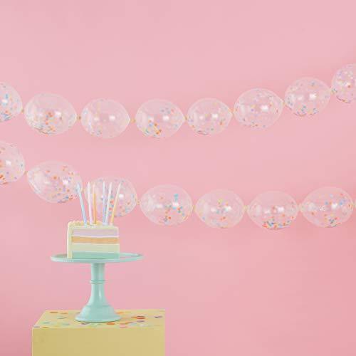 Ginger Ray Guirnalda de globos de confeti transparente para decoración de fiestas, 24 unidades