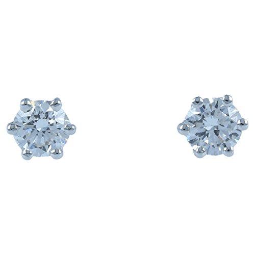Gioiello Italiano - Orecchini punto luce in oro bianco 18kt con diamanti 0.48ct, da donna