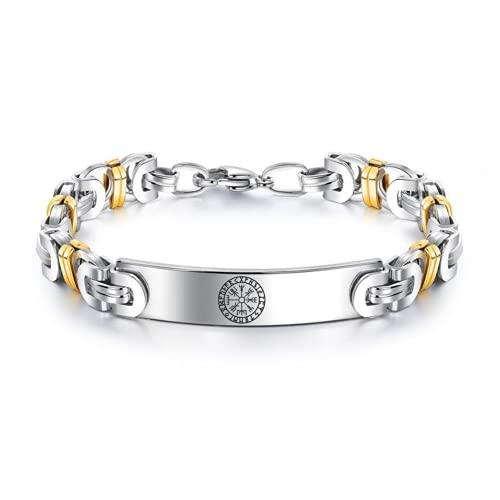 ForeverWill Pulsera de acero inoxidable con brújula vikinga, cadena bizantina, cadena de muñeca rúnica nórdica, elegante amuleto de mitología nórdica, joyería para mujeres y hombres