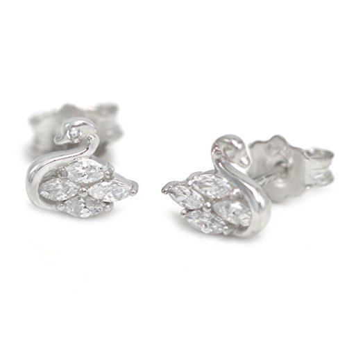 (Nickel Free) 925 Sterling Silver Small Crystal CZ Swan Stud Earrings 20148