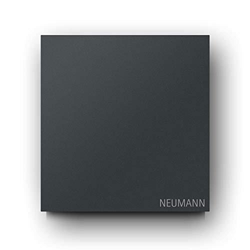 Briefkasten Edelstahl B1 Light Anthrazit, moderner Premium Design Wandbriefkasten ohne Zeitungsfach inkl. Namensbeschriftung