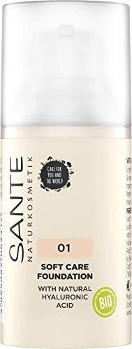 SANTE Naturkosmetik Soft Care Foundation 01 Warm Linen, ideal für helle Hauttypen, ebenmäßiger Teint, mittlere Deckkraft für ein natürlich-zartes Finish, mit natürlichem Hyaluron, Vegan, 30ml