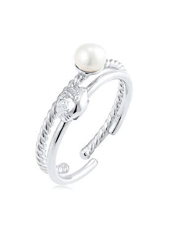 Elli Damen-Stapelring Perle, Muschel 925 Silber Kristall China-Zuchtperle Weiß Gr. 54 (17.2) - 0612572316_54
