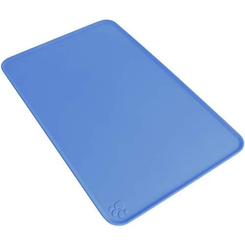 igadgitz Home U6758 Tapis de Nourriture en Silicone Compatible avec Animaux 47x30cm Tapis Gamelle Antidérapant Compatible avec Bols Chien Chat – Bleu