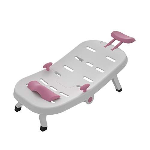 NBLL Silla de champú para niños, Asiento de baño para niños Plegables, reclinable de champú, Material PP, rodamiento de 70kg, cojín Ajustable, Adecuado para niños de 0 a 10 años.