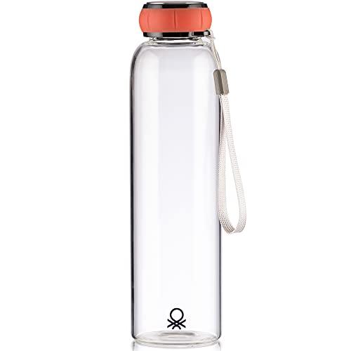 UNITED COLORS OF BENETTON. Botella de Agua 550ml borosilicato Tapa roja Casa Benetton, Rojo, 550 ml