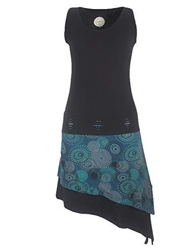 Vishes - Alternative Bekleidung - Ärmelloses asymmetrisches Lagenlook Zipfelkleid schwarz-türkis 36