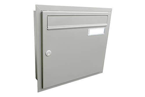 A-01 inbouw brievenbus venstergrijs (RAL 7040) met naamplaatje - LETTERBOX24.de