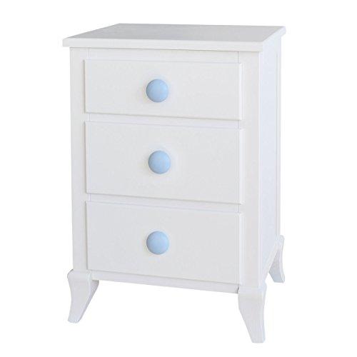 Bainba bijzettafel met 3 laden, hout 33x43x66 cm Wit en blauw