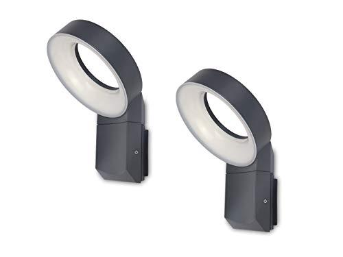 Lutec LED buitenverlichting set van 2 met/zonder bewegingssensor & lampenkop rond, antraciet, 18 cm ∅, IP54