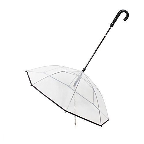 PETCUTE Hund Regenschirm Wasserdicht Regenschirm für Haustiere mit Leine für spazierender Hund in verregneten Tagen