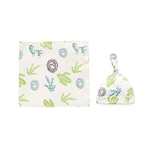 bysonice Conjunto de 2 piezas de bebé recién nacido Swaddle Wrap Hat Algodón Bebé Recibir Manta Ropa de cama de dibujos animados lindo saco de dormir infantil
