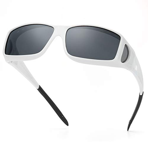 IGnaef Wrap Around Sunglasses,HD Polarized to Wear as Fit over Prescription Glasses for Driving (White/Grey)
