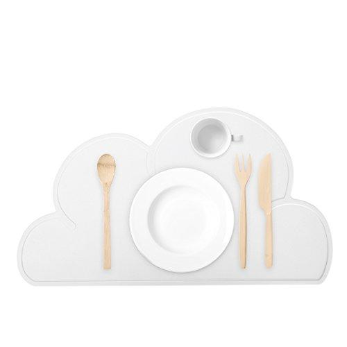 Guzack Platzdeckchen, Kinder Silikon Untersetzer Tisch-Sets Platzset, Wolken-Form, abwaschbar rutschfeste Tragbar Tischunterlage Tisch Essen Dekoration für Babys Kleinkinder