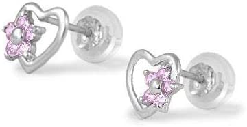 14K White Gold Heart Simulated Birthstone Flower Stud Earrings For Girls Of All Ages
