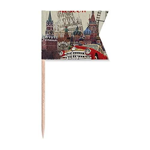 Rote klassische Autos Moskau Illustration Zahnstocher Flaggen Markierung für Party Kuchen Lebensmittel Käseplatte