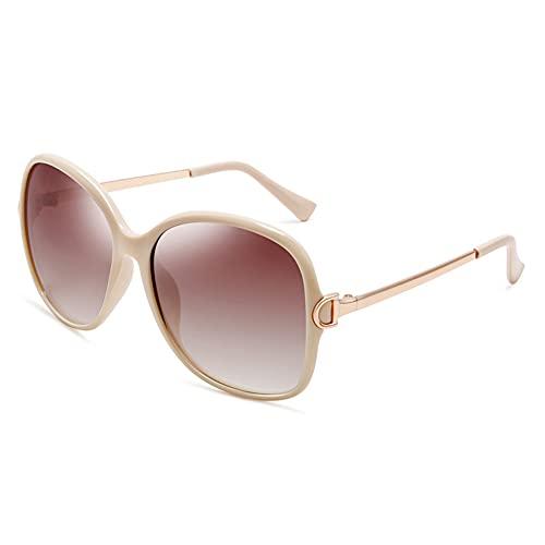 XINXD Gafas de Sol Polarizadas Gran Tamaño Retro Mujer para Viajes Conducción, Protección UV 400 Espejo Metal Moda Marco