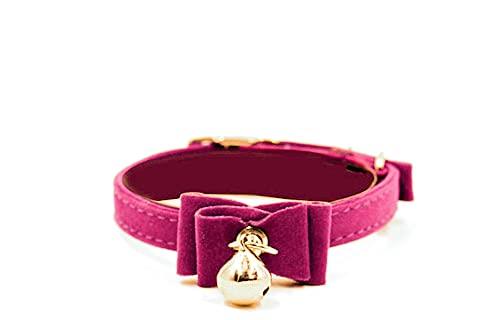 FIGARO CATS STORE: Collare per gatto in velluto, regolabile, morbido, sicuro, con campanellino e doppio fiocco papillon (Fucsia)