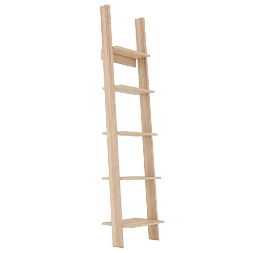 GLmeble - Scaffale a scala con 5 ripiani, scaffale per libri da parete, struttura a scala per libri, un ottimo oggetto decorativo e uno spazio funzionale (bianco, 45 cm) (Oak Sonoma, 45)