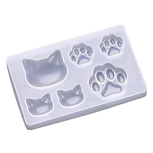 Ruby569y Casting Mould,Silicone Epoxy Resin Mold for DIY,Silicone Mold Cute DIY Handmade Jewelry Making Cat Bear Paw Resin Mould for Mold Store - Transparent